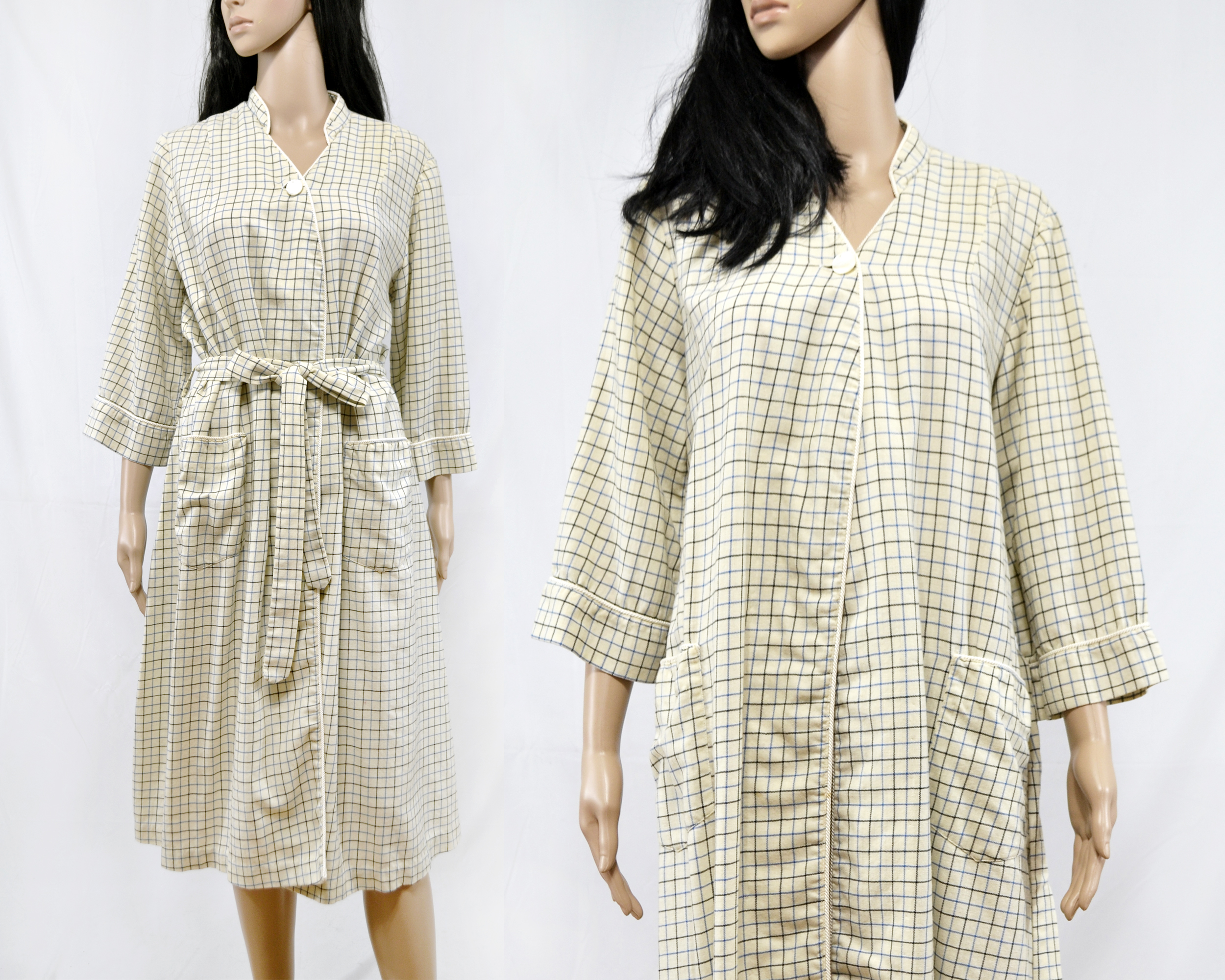 Freeborn Street Vintage Vintage 70s Checked Wool Robe Cream Checkered Lounge Robe Size S M