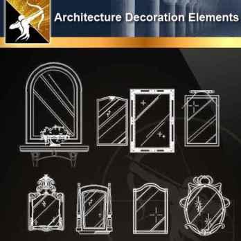 ★【 Free Architecture Decoration Elements V.5】@Autocad Decoration Blocks,Drawings,CAD Details,Elevation