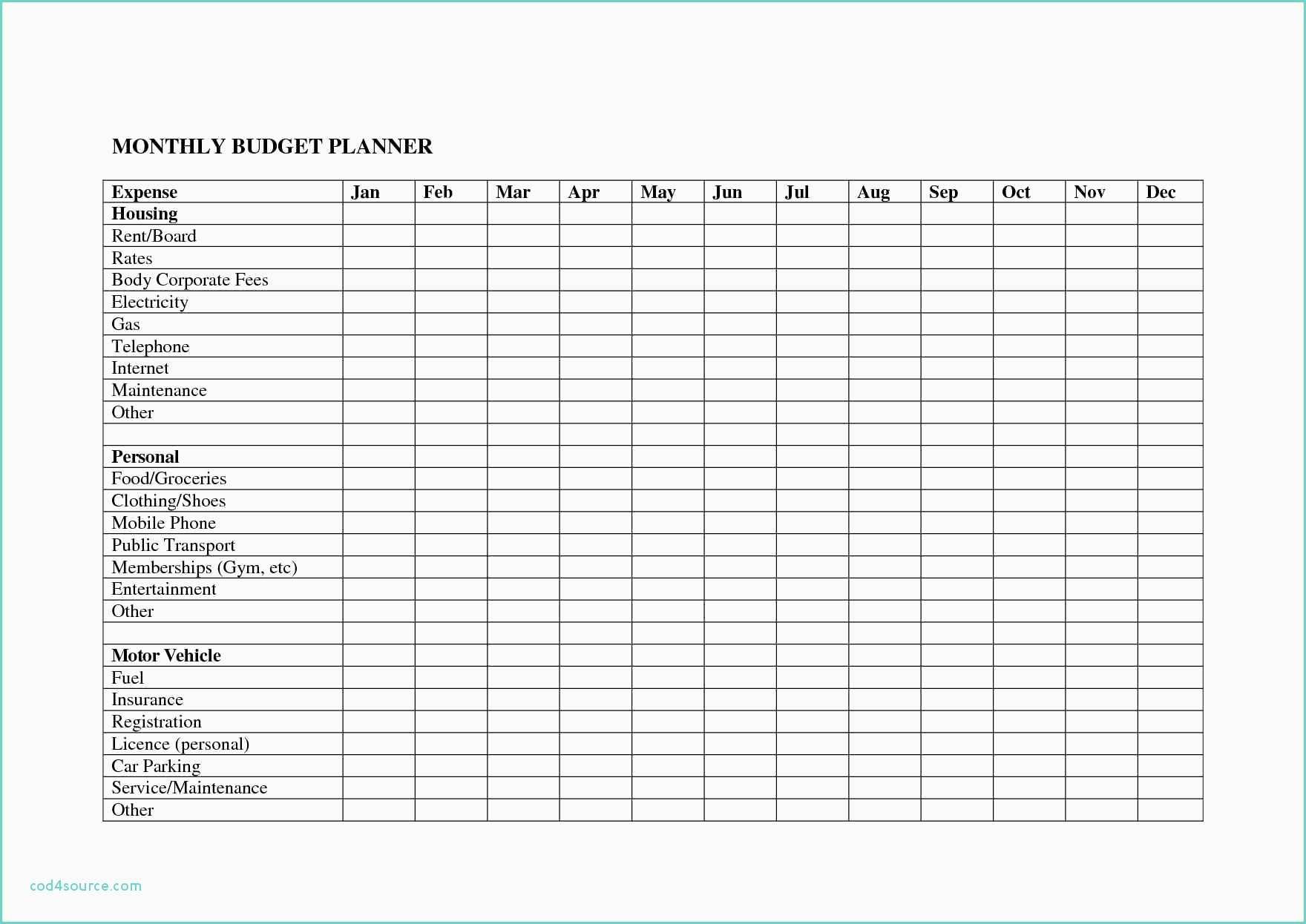 Monthly Bill Organizer Template Excel