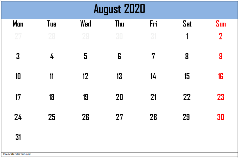 August 2020 Calendar Independence Day