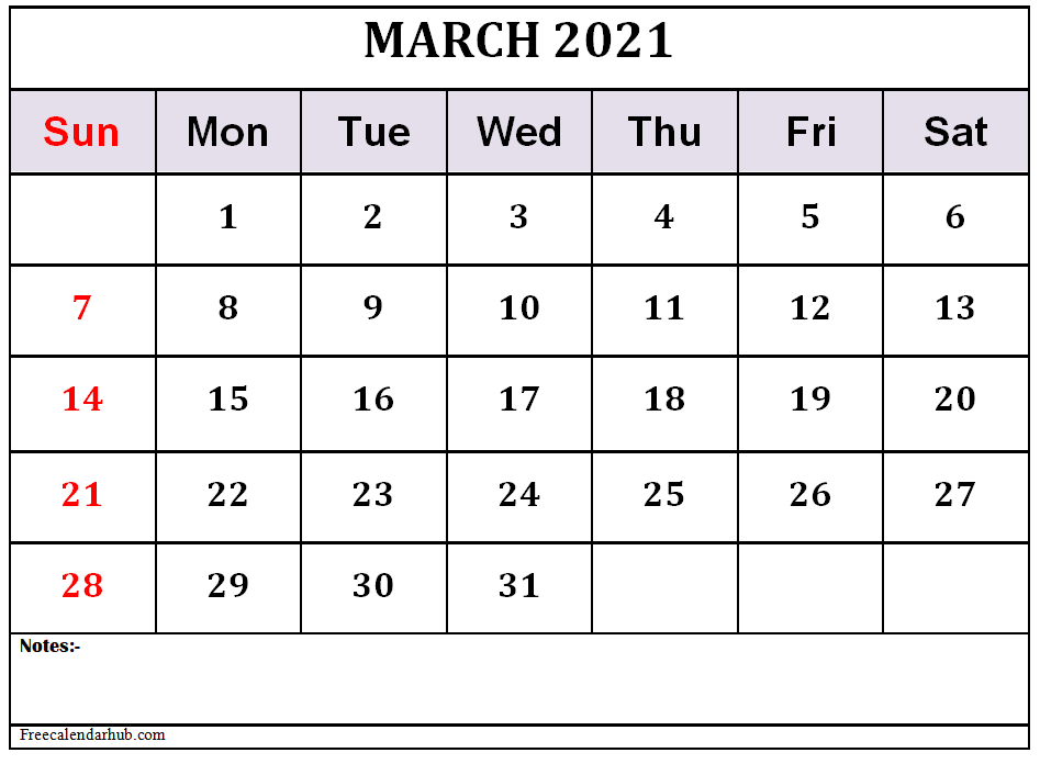 March 2021 Calendar Template Free Download