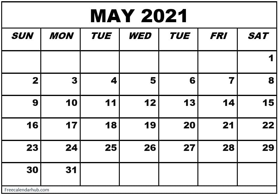 Blank May 2021 Calendar of United States of America