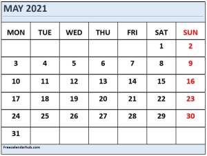 May 2021 Calendar Template Monday Start