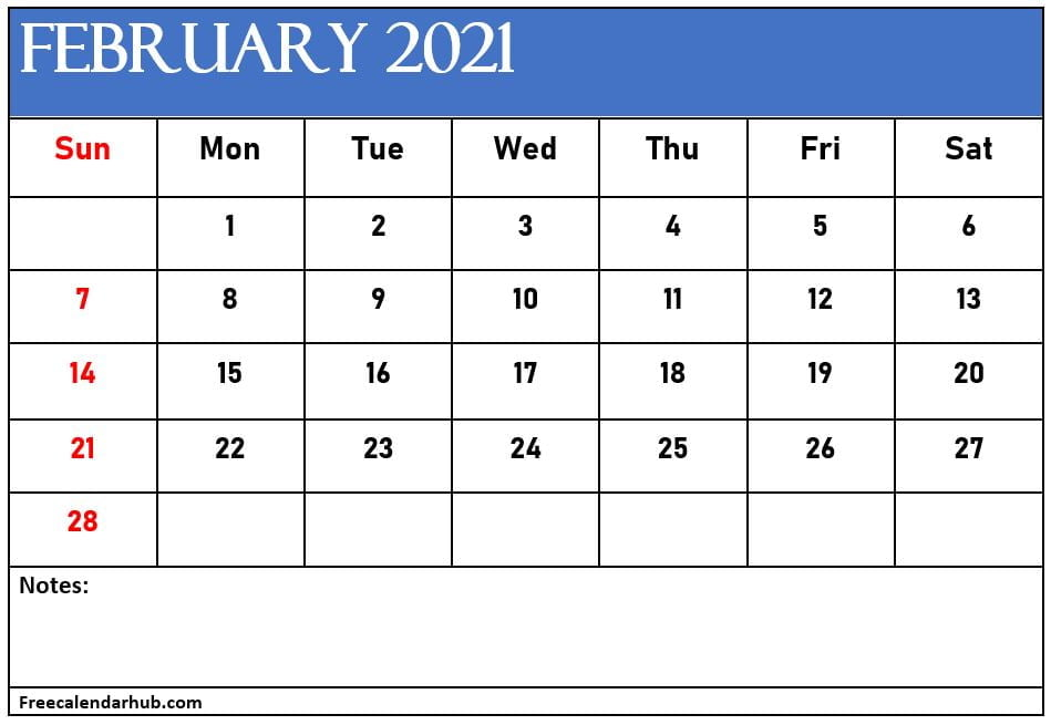 February 2021 Calendar Template With Notes