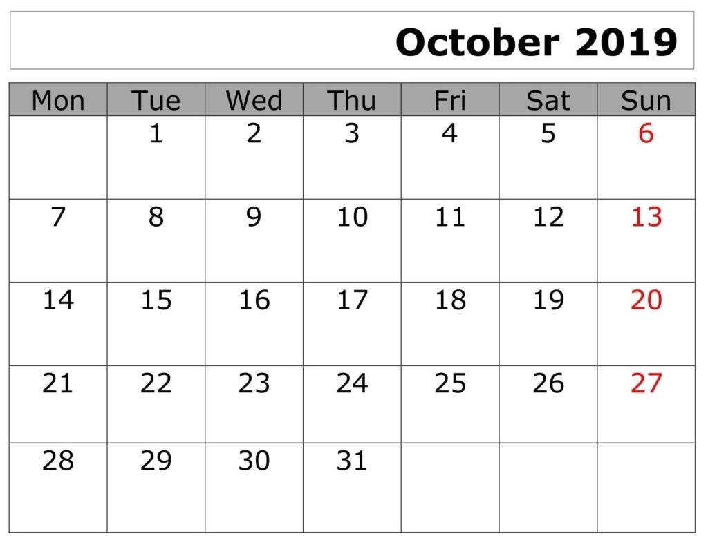 Printable October Calendar Planner Worksheets