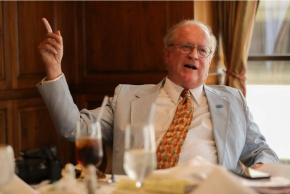 May 24, 2018: Bexar County Probate Judge Tom Rickhoff speaks with reporters before a speech to the Alamo Pachyderm Club. Credit: Scott Ball / San Antonio Report