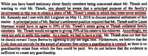 Critical paragraph explaining why Charlie Thrash and his estimated $3,000,000 were put under court-ordered guardianship: July 19, 2018 Letter from Attorney Ad-Litem Ben Wallis III to Court, Re: Payment of CKL Lawyers.com.