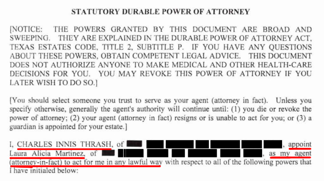 Charlie Thrash Durable Power-of-Attorney, signed June 24, 2016, naming Laura Martinez as his agent