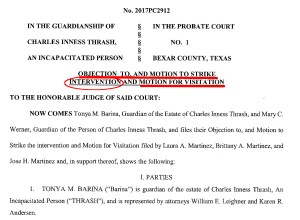 Dec 17, 2020: Guardian of Charlie's money objects to Charlie being allowed to see his comon law wife - shows herself to be tool of her CKL-Lawyers who will gain 80% of Charlie Thrash's estimated $3 Million estate