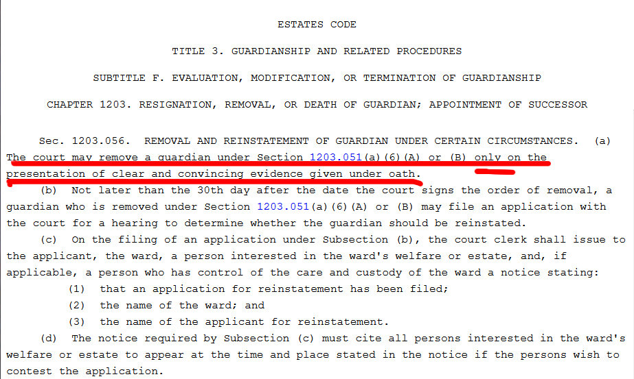 Texas Estates Code Sec 1203.056: Removal and reinstatement of guardian under certain circumstances