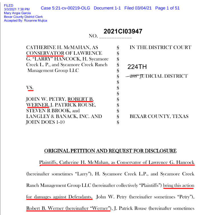 March 4, 2021 Original Petition in McMahan as Conservator et al vs. Petry, Werner et al