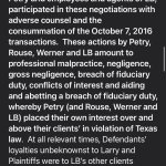 A portion of Paragraph 46 from lawsuit filed against Mayor of Shavano Park, Bob Werner, among others, for fraud, breach of fiduciary duty, conversion, legal malpractice and more by a Conservator for Hancock Fabric fortune heir Larry Hancock.