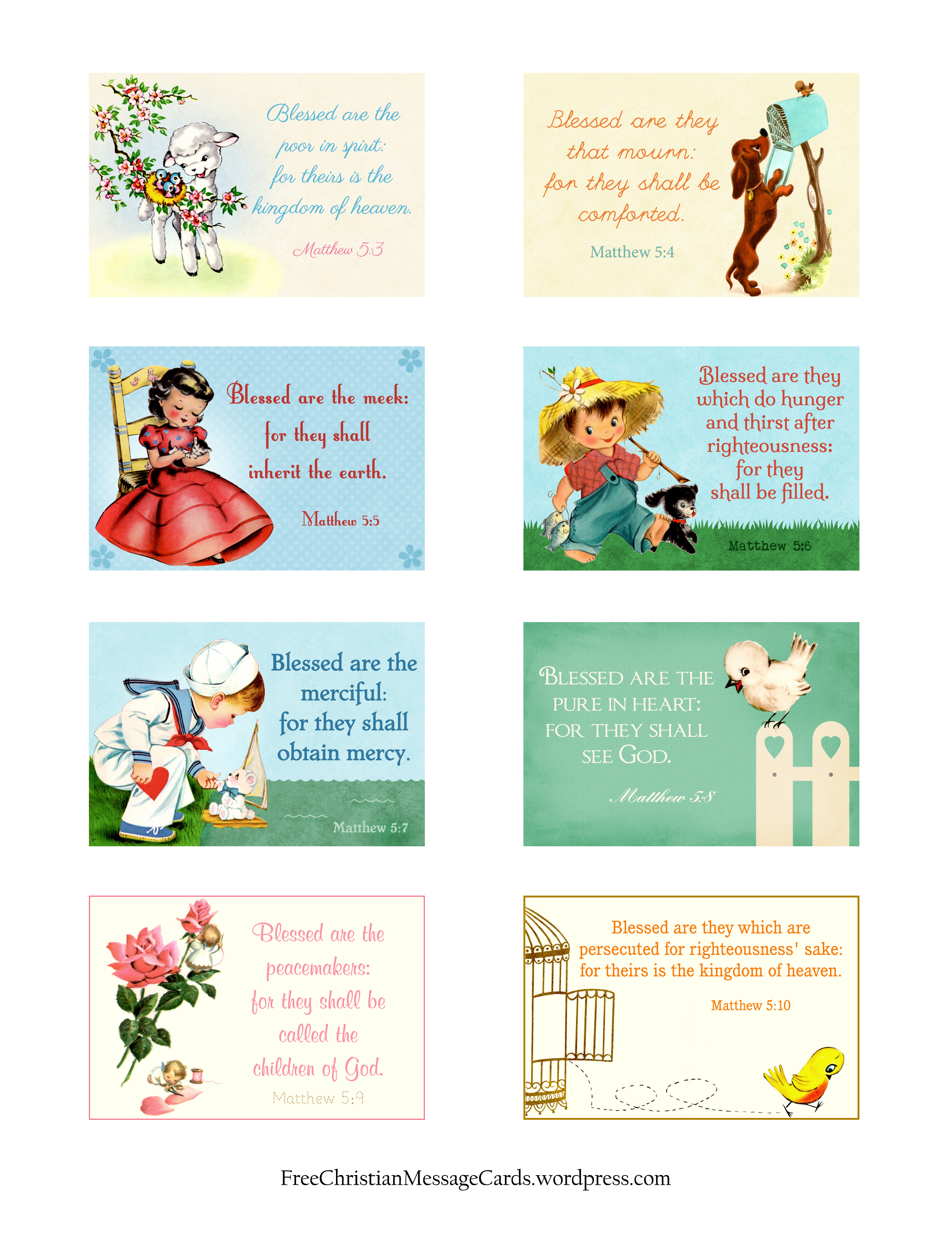 Free Printable Christian Message Cards Variety Sheet
