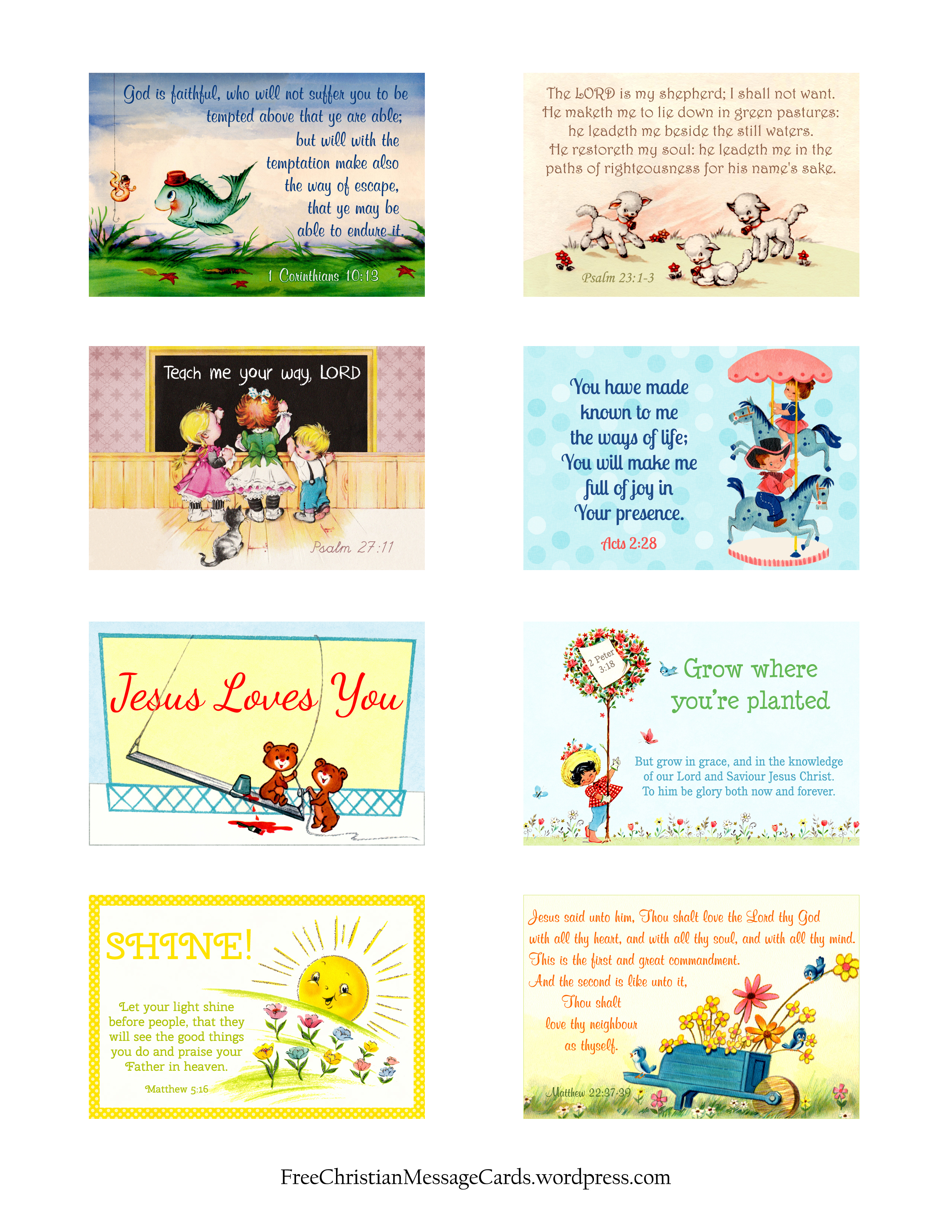Free Printable Christian Message Cards Variety Sheet 15