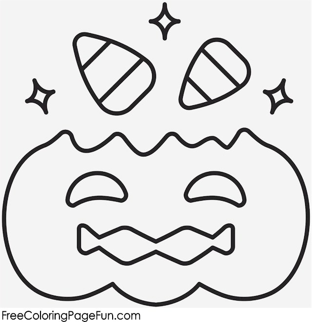 halloween pumpkin and candy corn coloring page