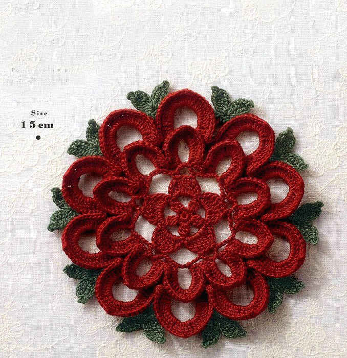 A beautiful crochet flower made using this free graphic