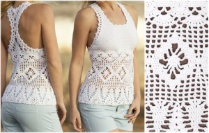 Crochet Blouse Free Pattern - Choose your yarn and follow the graphics