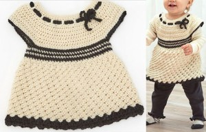 Girls Clothes: see the free pattern of this crochet baby dress
