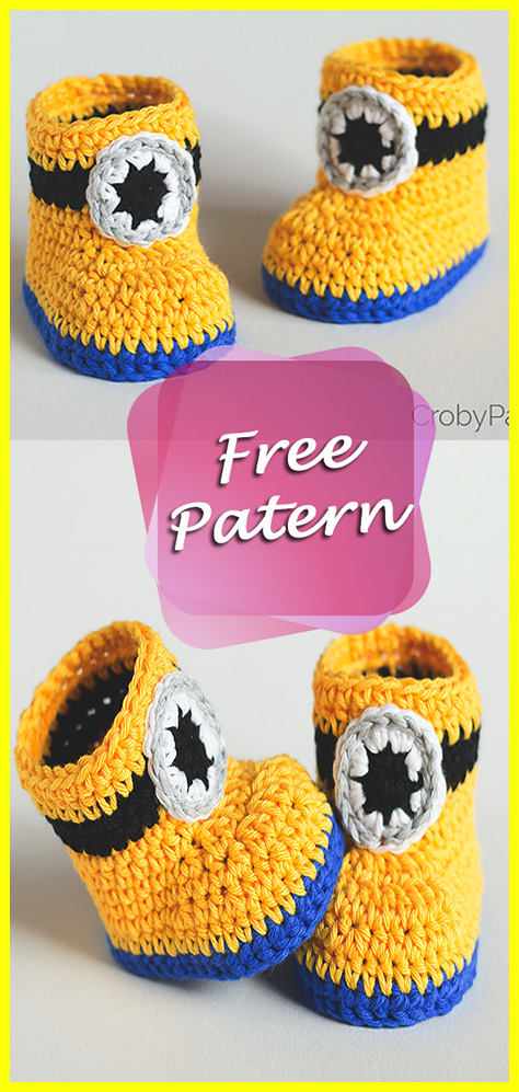 Minion Inspired Baby Booties Crochet Free Pattern Easy For