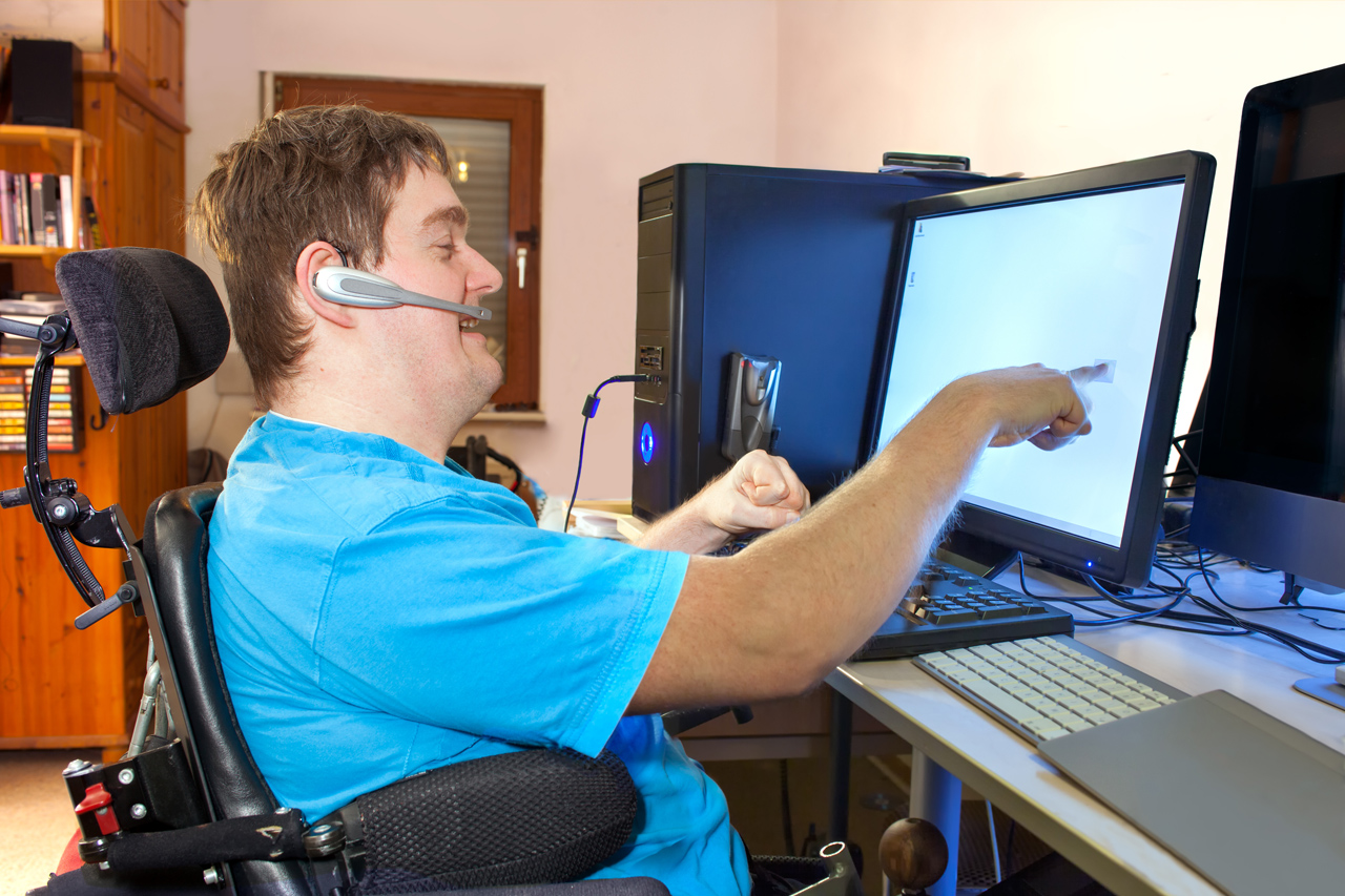 Man accessing the computer