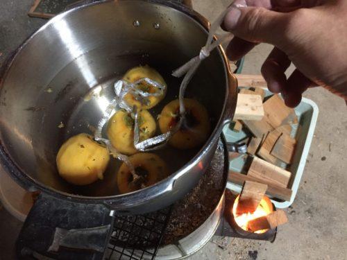 エコストーブで干し柿づくり