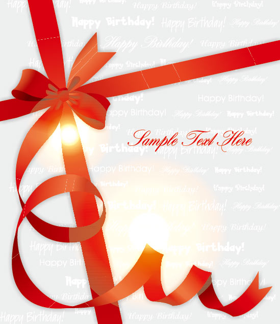 Red Ribbons Gift Cover Background Vector Vector