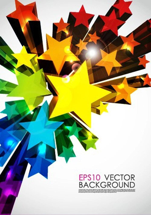 Colorful Stars Background Art Vector 05 Vector