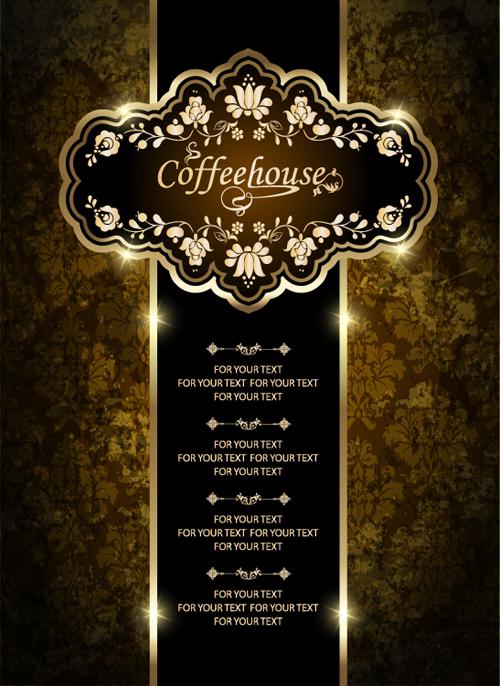 Vintage Golden Coffee House Menu Design Vector 01 Free Download