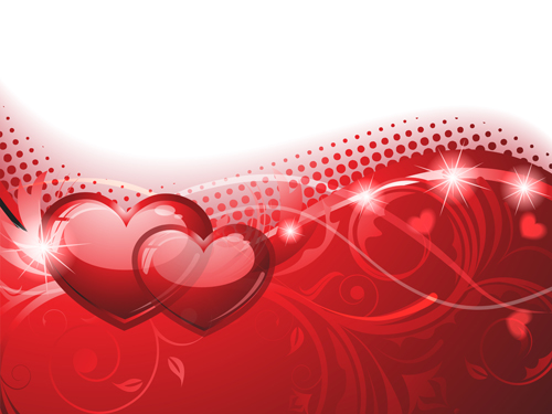 Background And Romantic Hearts Vector Graphics 01 Free