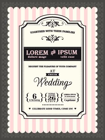 Retro Wedding Invitations Cards Design Vector 02