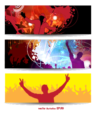 Music Party Creative Banner Vector Graphics 03 Vector