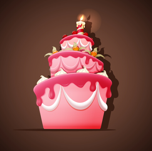 Cute Birthday Cakes Free Vector Background 01 Vector Background Vector Birthday Vector Food