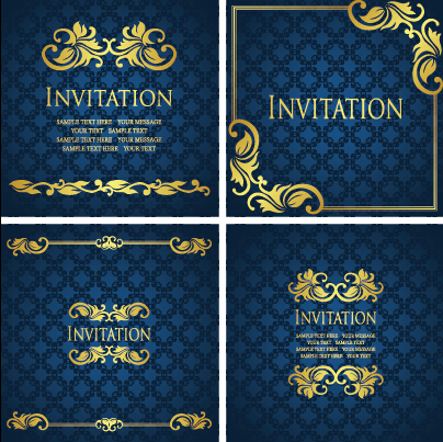 Ornate Gold Ornament Invitation Card Background Vector 02