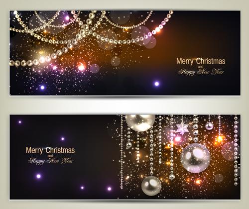 Luxury Jewelry Christmas Banners Vector Set 02 Vector