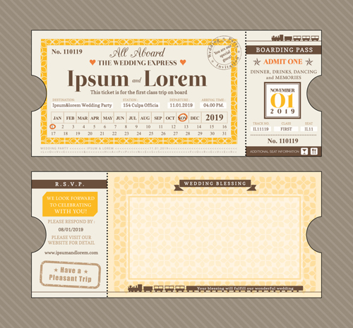 First Cl Ticket With Wedding Invitation Templates Vector 03