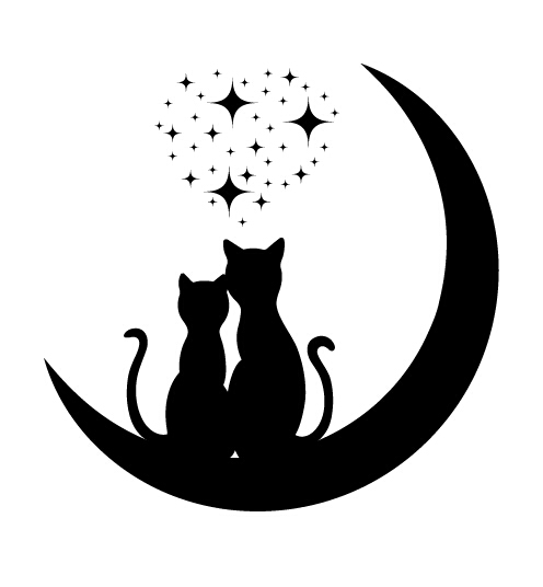 Download Cats love with moon vector 03 free download