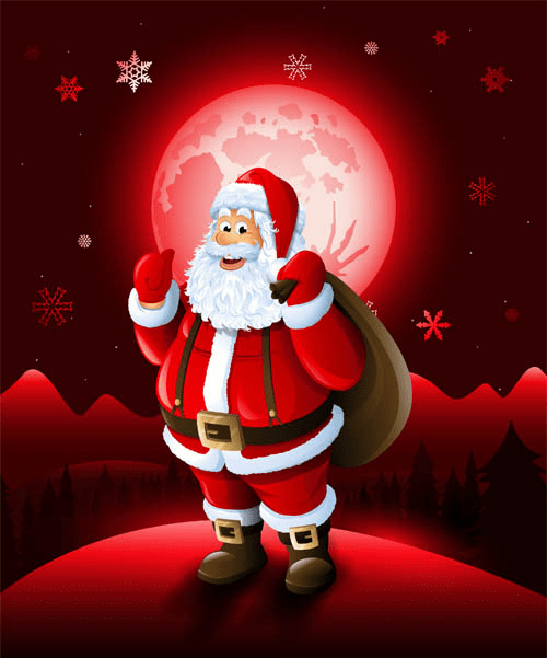 Christmas Santa With Red Xmas Background Vector Free Download