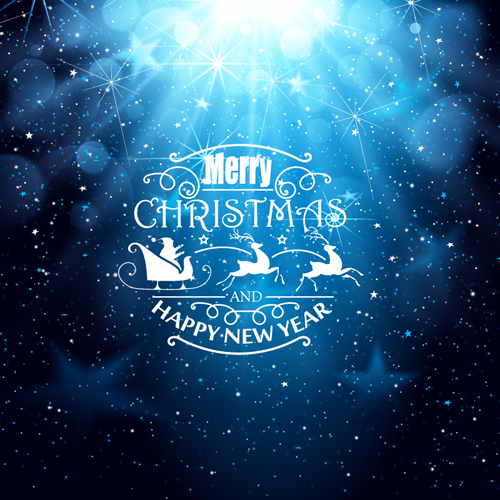 Blue Christmas And New Year Greeting Card Vector Vector