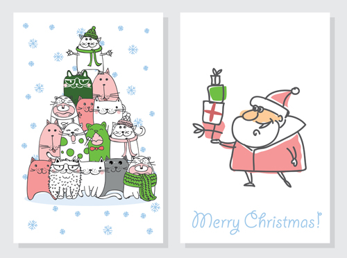 Hand Drawn 2016 Christmas Cards Vectors 05 Free Download
