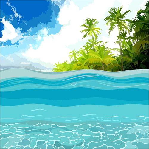 Beach With Sea Scenery Vector Design 04 Vector Scenery