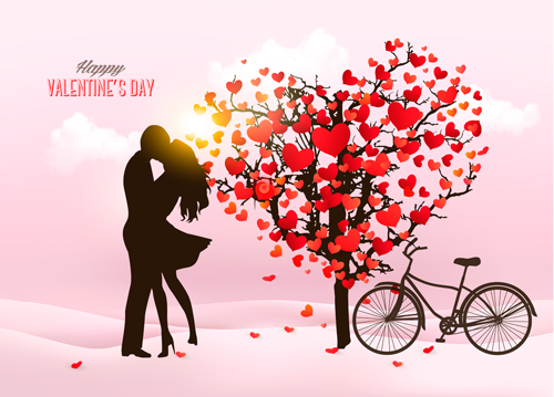 Valentine Heart Tree With Bicycle Romance Vector 01