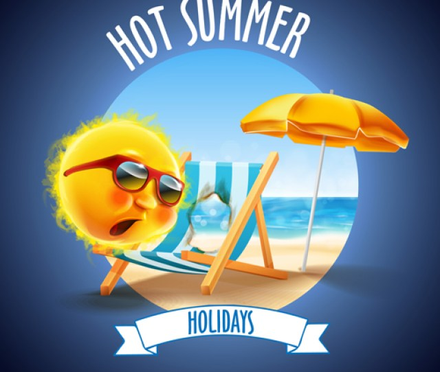 Hot Summer Holiday Background With Funny Sun Vector 04
