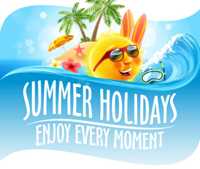 Hot Summer Holiday Background With Funny Sun Vector 06