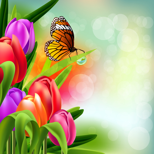 Spring Flower Beautiful Backgrounds Vectors 10 Vector