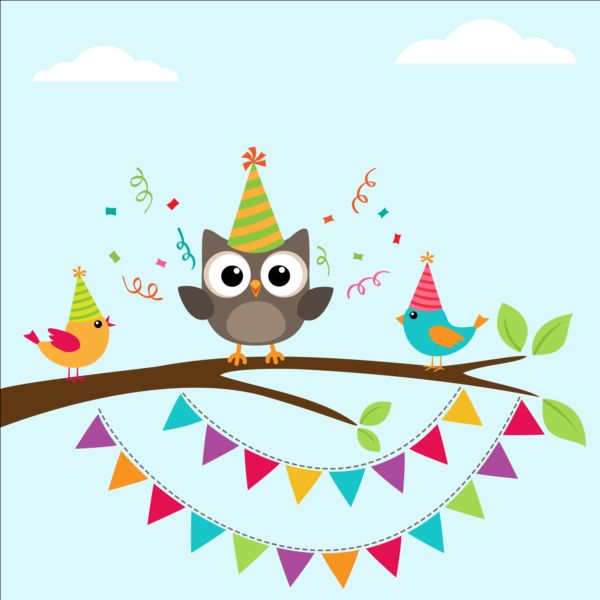 Happy Birthday Card And Cute Owls Vector 05 Free Download