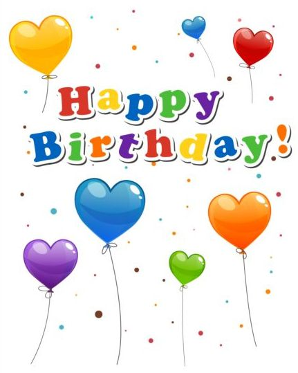 Happy Birthday Sticker With Balloon Vector 02 Free Download