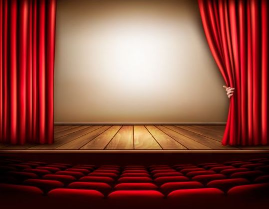 Cinema Background With Red Curtain And Hand Vector Vector Background Free Download