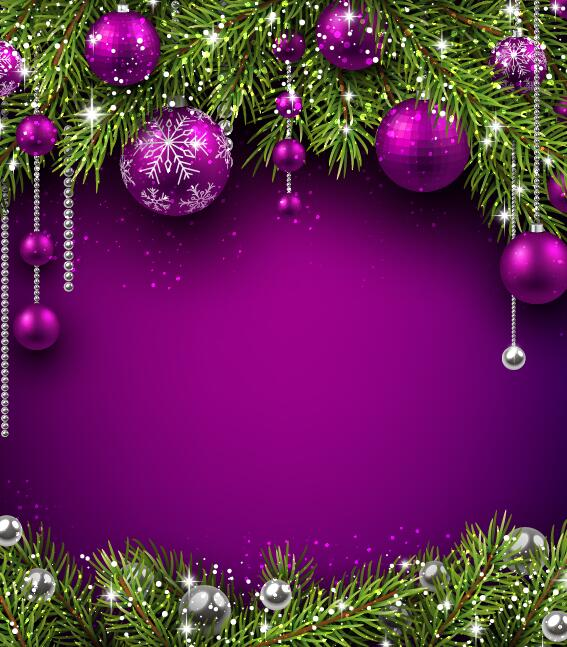 Purple Christmas Ball With Purple Background Vector