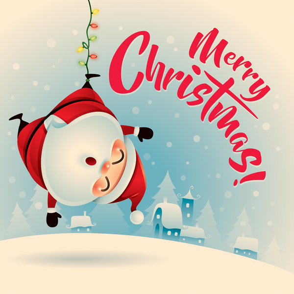 Retro Christmas Greeting Card With Cute Santa Vectors 07