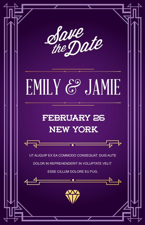 Purple Wedding Invitation Card Template Vector 02